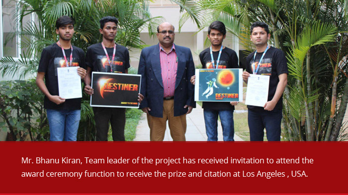 The students of Guru Nanak Institutions Technical Campus (Autonomous) won the 2 nd Prize for submitted project entitled 'GENESIS – A Space Abde' for NASA Ames Space Settlement Design Contest - 2018 competitions.