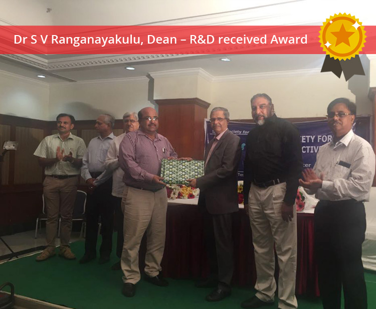 Dr S V Ranganayakulu, Dean –R&D received award by Indian Society for Nondestructive Testing (ISNT)