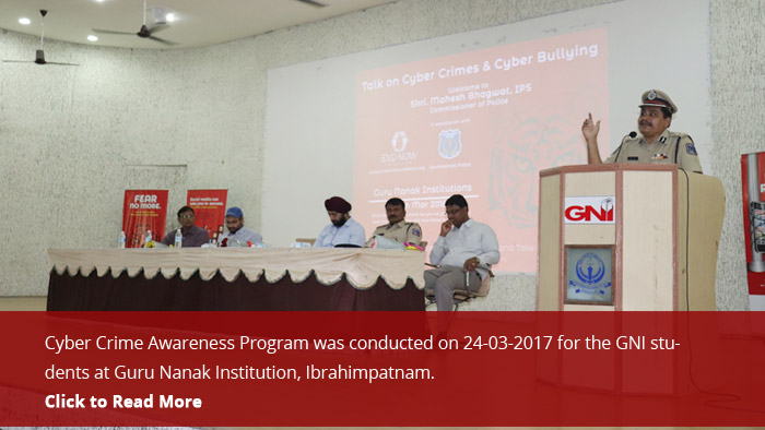Cyber Crime Awareness Program is conducted on 24-03-2017 to the GNI students at Guru Nanak Institution Ibrahimpatnam.