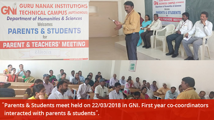 Parents & Students meet held on 22/03/2018 in GNI. First year co-coordinators interacted with parents & students